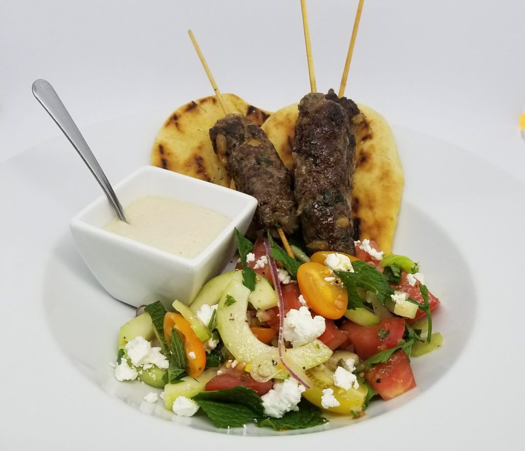 Lunch Menu - Lamb and Beef Kofta, Tomato, Cucumber, Onion, Mint and Feta Salad, Tzatziki, Grilled Naan