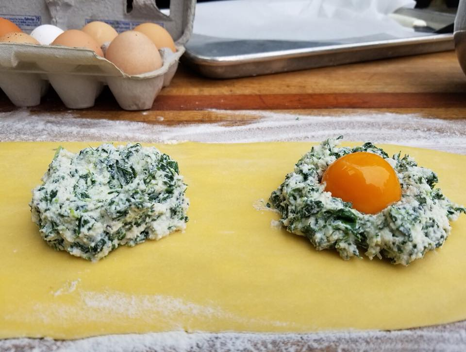 Local Farm Fresh Egg Yolk and Spinach Ricotta Raviolo