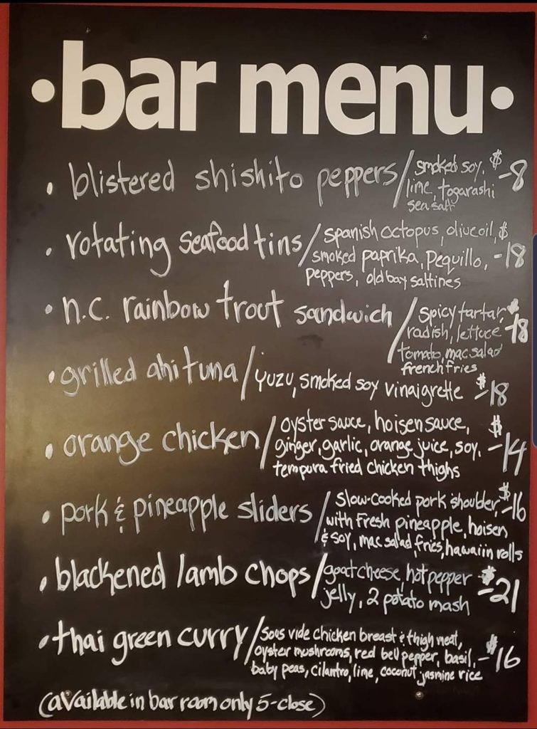 Bar Chalkboard Menu